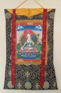 HAND-PAINTED WHITA TARA TIBETAN THANGKA, THANKA, ART, PAINTING WITH SILK BORDER