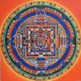KALACHAKRA MANDALA  ORIGINAL TIBETAN THANGKA PAINTING IN GOLD