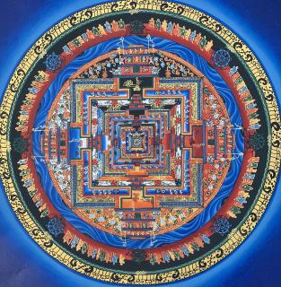 KALACHAKRA MANDALA -THE WHEEL OF LIFE ORIGINAL TIBETAN THANGKA PAINTING IN GOLD
