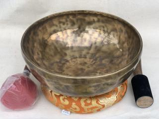 HAND-HAMMERED TIGER PATTERN  TIBETAN SINGING BOWL, HEALING,  SOUND THERAPY 11- INCH