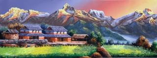 MOUNT ANNAPURNA SUNRISE VIEW FROM DHAMPUS ORIGINAL ACRYLIC PAINTING ON CANVAS