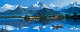 Annapurna and Fishtail View from Fewa Lake Acrylic  Painting on Canvas  22 x 52 Inches