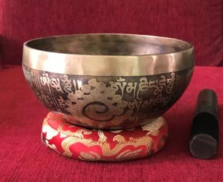 Handmade Om Mani Padme Hum Mantra Carved Singing Bowl
