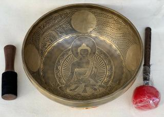7 METAL HAND CARVED  BUDDHA TIBETAN SINGING BOWL ,SOUND THERAPY GRADE 12 INCH